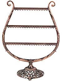Rrimin Antique Brass Cup Shape Metal Jewelry Earring Display Rack Stand Holder