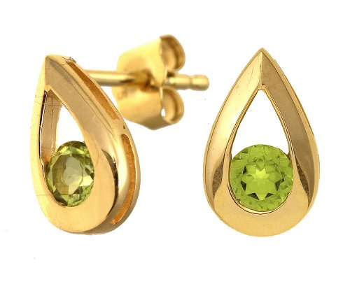 9ct YellowGold 0.25ct Peridot Teardrop Earrings