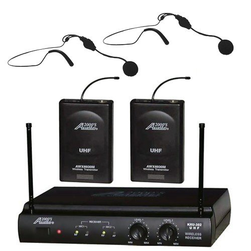 Audio2000 Awm6032Uh Uhf Dual Channel Wireless Microphone System With Two Headset Mic
