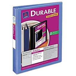 Avery-Dennison 34152 Durable View Binder with Slant Rings, Periwinkle - 1 in.