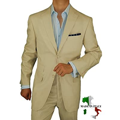 Bianco Brioni Italian Linen Mens Suit Modern 2010 Two Button 2pc Flat Front Pants Ticket Pocket Hand Tailored Suit Tan Beige
