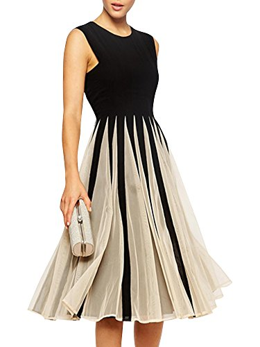Inlscp Women's Sleeveless Tunic Chiffon A Line Pleated Evening Party Dress