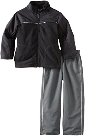 Kenneth Cole  Black Microfleece Jacket & Nylon Pants, Black, 6