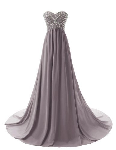 Dressystar Strapless Sweetheart Beading Long Evening Dress Gowns Grey