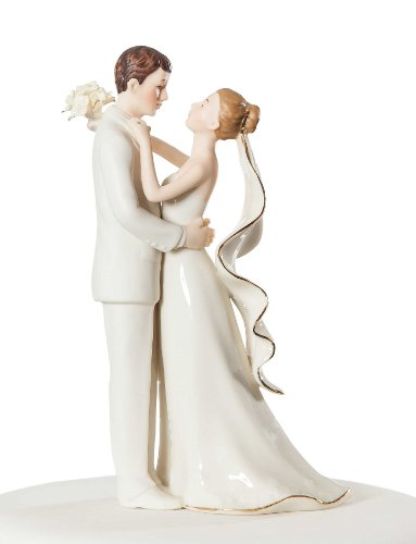Off-White Porcelain Bride and Groom Wedding Cake Topper Figurine