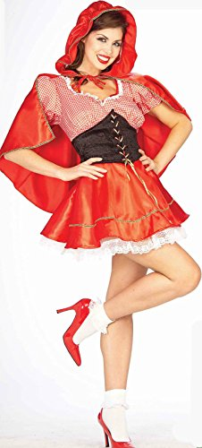 Sexy Little Red Riding Hood Fairy Tale Costume Adult Women Std Cape Black Corset