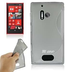 JKase Slim-Fit Streamline Ultra Durable TPU Case for Nokia Lumia 928 - Retail Packaging - Grey