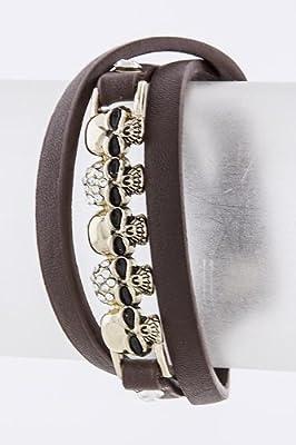 Karmas Canvas Skull Bar Wrap Bracelet by Karmas Canvas