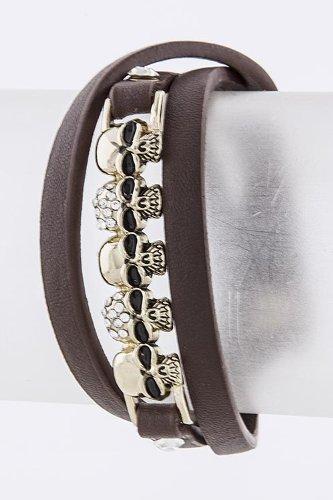 Karmas Canvas Skull Bar Wrap Bracelet (Brown)