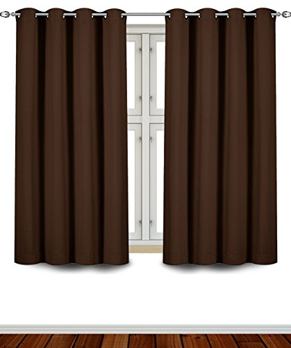Blackout, Room Darkening Curtains Window Panel Drapes - (Chocolate Color) 2 Panel Set, 52 inch wide by 63 inch long each panel, 8 Grommets / Rings per panel, 2 Tie Back included- by Utopia Bedding (Color Drapes compare prices)