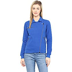 Hypernation Royal Blue Side Zipper Cotton Jacket For Women