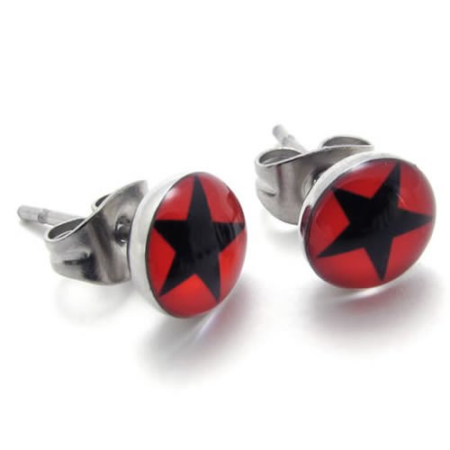 KONOV Jewelry Two Tone Unisex Mens Outstanding Red Star Stainless Steel Stud Earrings for Men, 2pcs, Color Red Black