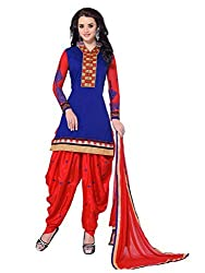 Blissta Blue chanderi patiyala suit dress material(KQN1008)