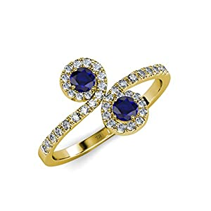 Blue Sapphire 2 Stone with Side Diamonds Bypass Engagement Ring 1.24 ct tw 14K Yellow Gold.size 5.0