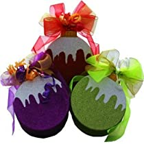 Set of 3 Red, Purple and Green Christmas Tree Ornament Gift Box of Candy Treats