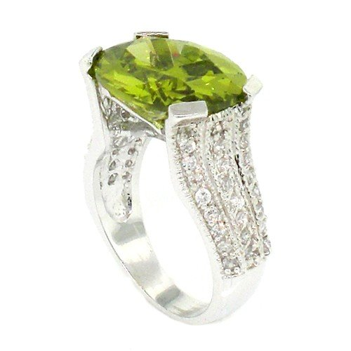 Vintage/Modern Engagement Ring w/Peridot &#038; White CZs Size 7