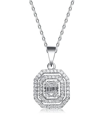 Genevive CZ & Sterling Silver Double Outlined Rectangular Pendant Necklace