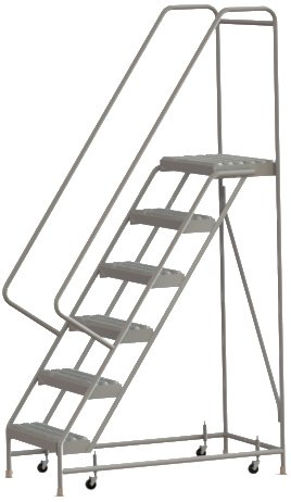 Tri-Arc WLAR106245 6-Step All-Welded Aluminum Rolling Industrial & Warehouse Ladder with Handrail, Grip Strut Tread, 24-Inch Wide Steps