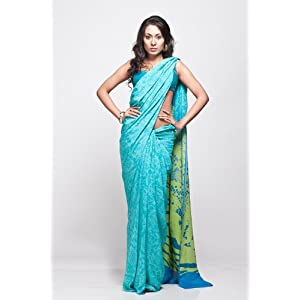 Satya Paul RD4993|Saree|Turquoise Blue|Georgette