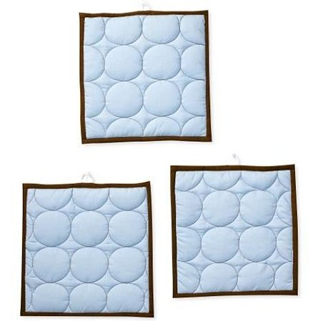 Quilted Circles Blue/Chocolate 3 pc wall hangings