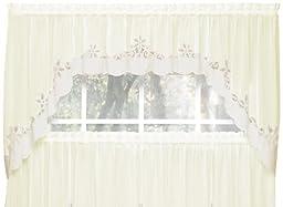 Today\'s Curtain Plymouth Classic Battenburg Applique Sheer Window Swag, 38-Inch, Ecru