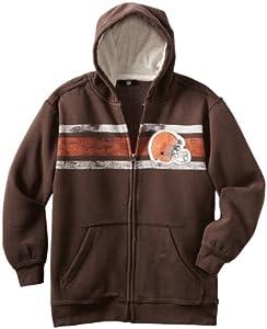 NFL Cleveland Browns 8-20 Youth Long Sleeve Vintage Full Zip Fleece, Brown, Large