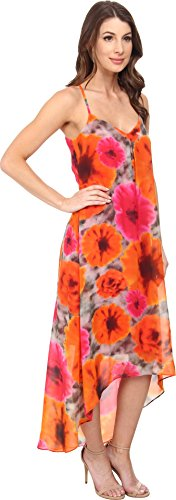 B00UUG9HGW Maggy London Women's Smudge Daisy Printed Chiffon Hi Low Maxi, Grey/Orange, 2