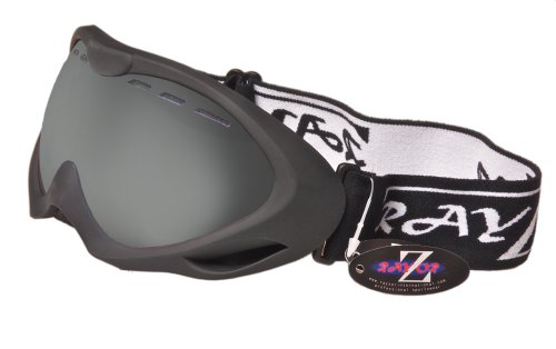 2013 Rayzor Professional UV400 Double Lensed Ski / SnowBoard Goggles, With a Matt Black Frame and an Anti Fog Coated, Vented Smoke Mirrored Anti-Glare Wide Vision Clarity Lens.