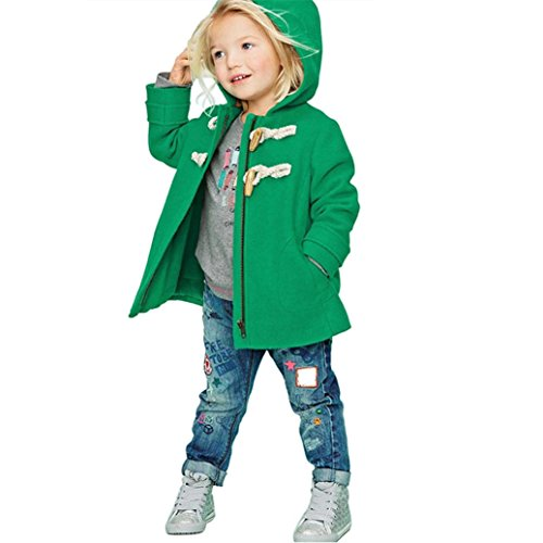Culater® Baby Coats Children Jacket Warm Winter Hot Hooded Kid Clothes SnowSuit Outwear (100, verde)