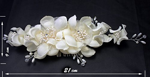 Eastern Delights® Women Bridal Hair Accessories Pearl Fabric Flower Wedding Hair Clip Hair Comb Tiara Ivory