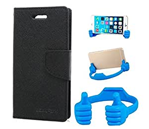Aart Fancy Wallet Dairy Jeans Flip Case Cover for LenovoA-6000 (Black) + Flexible Portable Mount Cradle Thumb OK Designed Stand Holder By Aart Store.