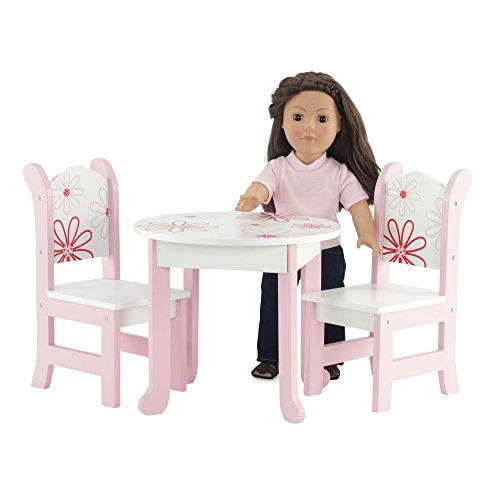 18 Inch Doll Furniture Fits 18 American Girl Dolls Floral Table And Chairs Ebay