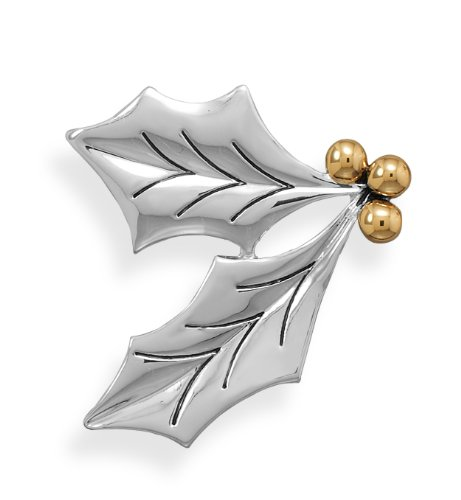 14K Gold/Silver Plated Two Tone Holly Leaves Fashion Pin/Pendant, 1-7/8 inch