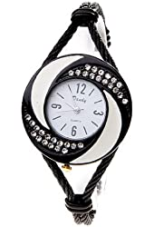 Soleasy New Fashion Women's Bangle Wrist Watch Quartz Black-White WTH0205