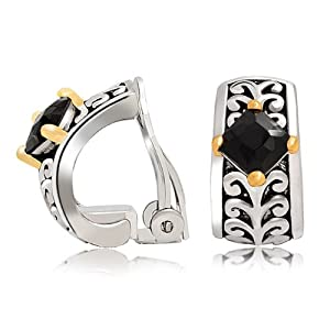 Bling Jewelry Black Crystal Bali Style Vines Two Tone Clip On Earrings