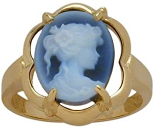 14 Karat Yellow Gold Blue Agate Cameo Ring - 8