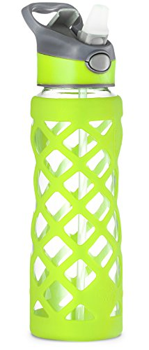 Swig Savvy 25oz Glass Water Bottle - Protective Silicone Sleeve With 3 Interchangeable Leak-proof Caps . Sleek, Durable & Stylish - PBA Free - Break Resistant Borosilicate Glass (Green, 1 Pack) (Glass Drinking Water Bottles compare prices)