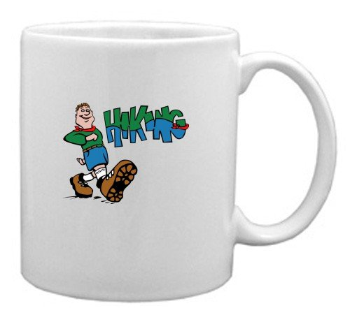 White Mug with the image of: Hiker Hiking
