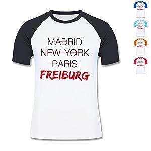 L140 Herren Männer Raglan T Shirt Kontrast Ärmel Baseballshirt Raglan T-Shirt Funky 150 - Städte - Weltstadt Freiburg