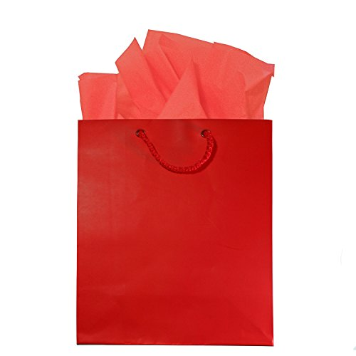 Red Gift Bags With Handles, Tissue Paper And Tags, Set Of 6, 8 X 10 Inches, Small/Medium front-632522