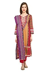 Kesaria by Uptowngaleria 100% Printed Pakistani Cotton Lawn Dress Material