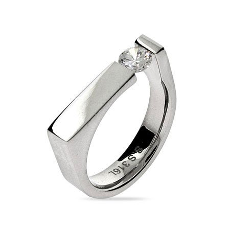 Rectangle Signet Ring with Single CZ Size 5 (Sizes 5 6 7 8 9 10 11 12 Available)