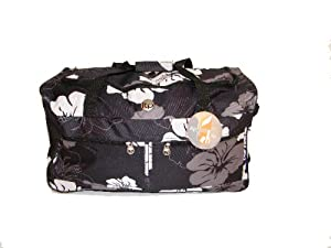Wheeled Floral Medium Holdall Trolley Bag In Simples With Locking Telescopic Trolley Handle Side Top Carry Handles