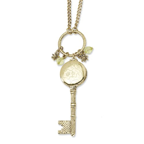 1928 Boutique Brass-tone Key Locket with Charms 21