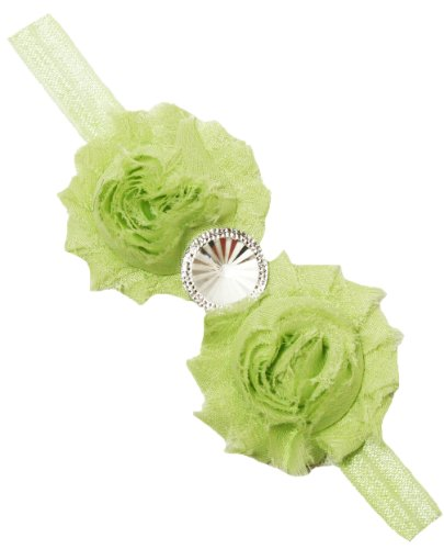 Lime Rhinestone Shabby Chic Flower Skinny Headband back-992480