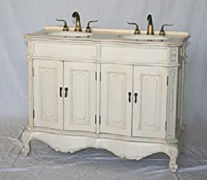 50 inch white wood double sink bathroom vanity with ivory - 50 inch double sink bathroom vanity ...