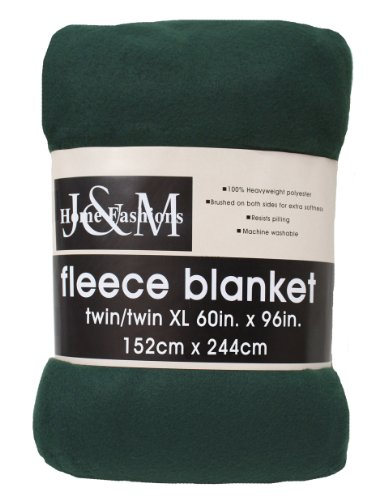 Best Deals! J & M Home Fashions 60-Inch by 96-Inch Fleece Blanket, Twin/Twin X-Large, Dark Green