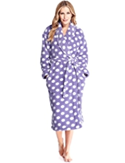 Supersoft Shawl Collar Spotted Dressing Gown