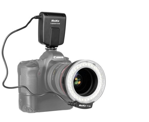 MEIKE FC100 LED Macro Flash Anulare e anelli per NIKON per riprese foto e video