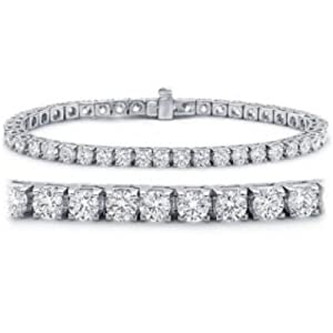 IGI Certified Classic Round Brilliant Diamond Tennis Bracelet in 14K White Gold (K-L Color, I2 Clarity) from Chandni Jewels